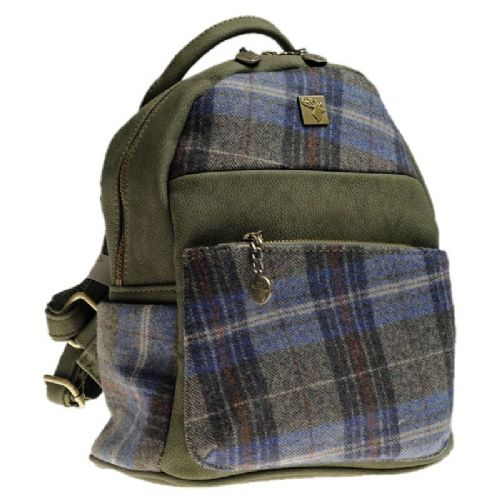 House of Tweed Small Backpack Handbag in Blue Check